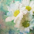 Stock Photo: Artwork with adorable flowers and grunge watercolor