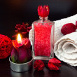 Red romantic candle and spa stuff — Foto Stock