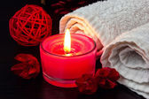Candle close up and spa stuff — Stock Photo