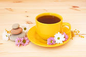 Cup of herb tea and flowers — Stock Photo