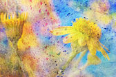 Yellow flower and messy colorful watercolor splashes — Stock Photo