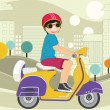 Kid driving motorbike vector illustration — Stock Vector