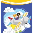 Kids flying by plane vector illustration — Stock Vector