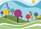 Spring landscape vector illustration — Stock Vector