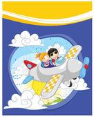 Kids flying by plane vector illustration — Stock Vector