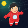 Vector Illustration Of A Young Boy Astronaut Floating in Space — Stock Vector #50074177
