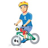 Boy and Destroyed Bicycle Vector Illustration — Stockvektor