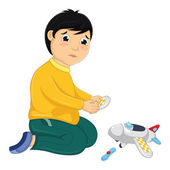 Boy with His Broken Toy Vector Illustration — Stock Vector