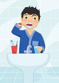 Boy Brushing Teeth Vector Illustration — Stock Vector