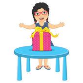 Little Girl Gift Vector Illustration — Stock Vector
