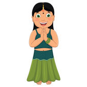 Indian Girl Vector Illustration — Stock Vector