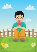 Kid Eating Ice cream Vector Illustration — ストックベクタ