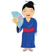 Japanese Girl Vector Illustration — Stock Vector