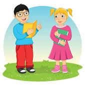 Kids Reading Book Vector Illustration — Stock Vector