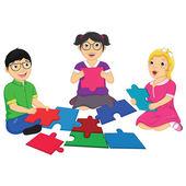 Niños jugando puzzle vector illustration — Vector de stock