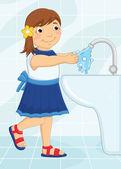девушка, мытье руки векторные иллюстрации — Cтоковый вектор
