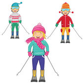 Vector Illustration Of Kids Skiing On Isolated Background — Stockvektor