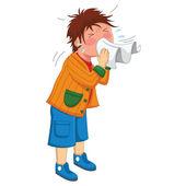 Kid Sneeze Vector Illustration — Stock Vector