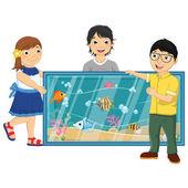 Векторные иллюстрации детей, наблюдая за рыбами в аквариуме — Cтоковый вектор