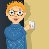 Vector Illustration Of A Little Boy Switching On Lamp — Stock Vector