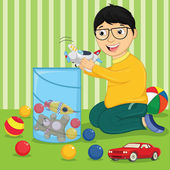 Kid with Toys Vector Illustration — Stock Vector