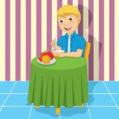 Little Boy Eating Meal Vector Illustration — ストックベクタ