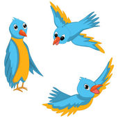 Blue Birds Vector Illustrations Set — Stock Vector