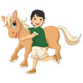 Vector Illustration Of A Little Boy Hugging Pony — Stock Vector