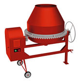 Red concrete mixer — Stock Photo