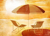 Beach umbrella retro — Stock Photo