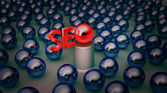 Background with blue balls seo — Foto de Stock