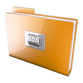 Yellow folder closed on cipher — Stock Photo
