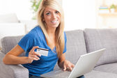 Happy lady shopping online. — Stock Photo