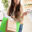 Happy Hispanic shopper — Stock Photo