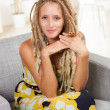 Stunning white woman with dreadlocks — Stock Photo #12427108