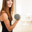 Cute female working out. — Stock Photo