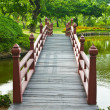Foto Stock: Nice old wooden bridge in park at summertime.