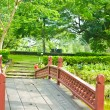 Nice old wooden bridge in park at summertime. — Zdjęcie stockowe