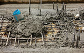 Construction working assemble cement into the frame — Stock Photo