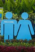 Signo de baño masculinos y femeninos — Foto de Stock