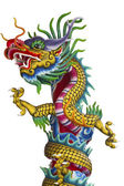 Golden Chinese Dragon Wrapped around red pole — Stock Photo
