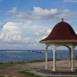 Stock Photo: Pavilion with a view of the sea on the blue sky background.