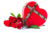 Red rose with a heart box — Stock Photo