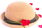 Red rose with hat Lady — Stock Photo