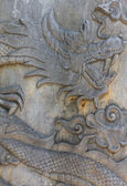 Oriental wooden dragon carving  — Stock Photo
