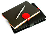 Black notebook isolated on white background, conservation concep — Stock Photo