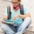 Student on steps — Stock Photo