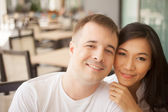 Happy faces of lovers — Stock Photo