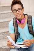 Studying in the street — Stock Photo