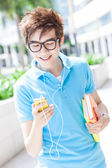 Teenager with mobile phone — Stock Photo